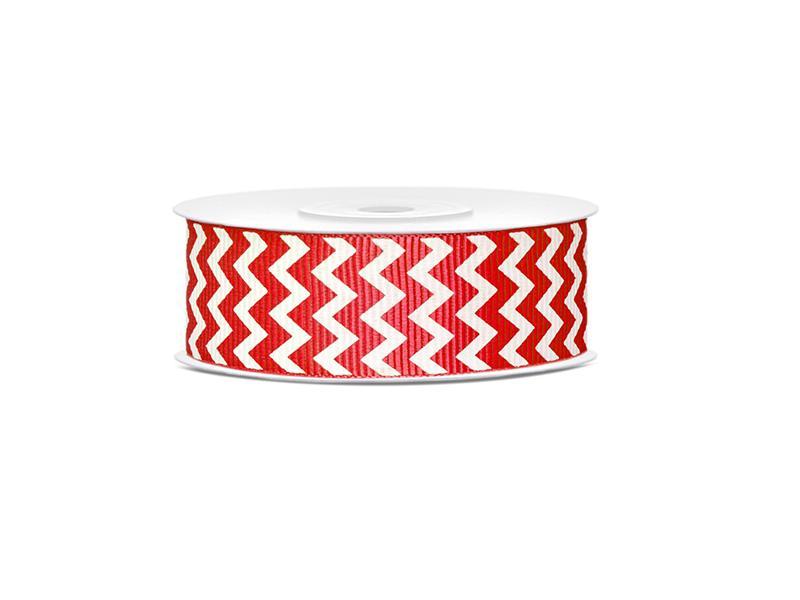 25 mm széles ripsz szalag (10 m) – piros, cikk-cakk mintás