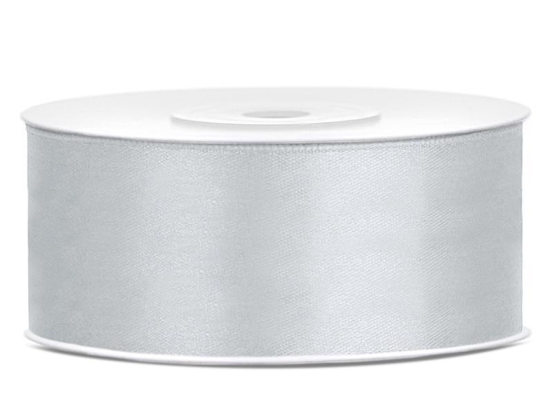 25 mm széles szatén szalag (25 m) – ezüst
