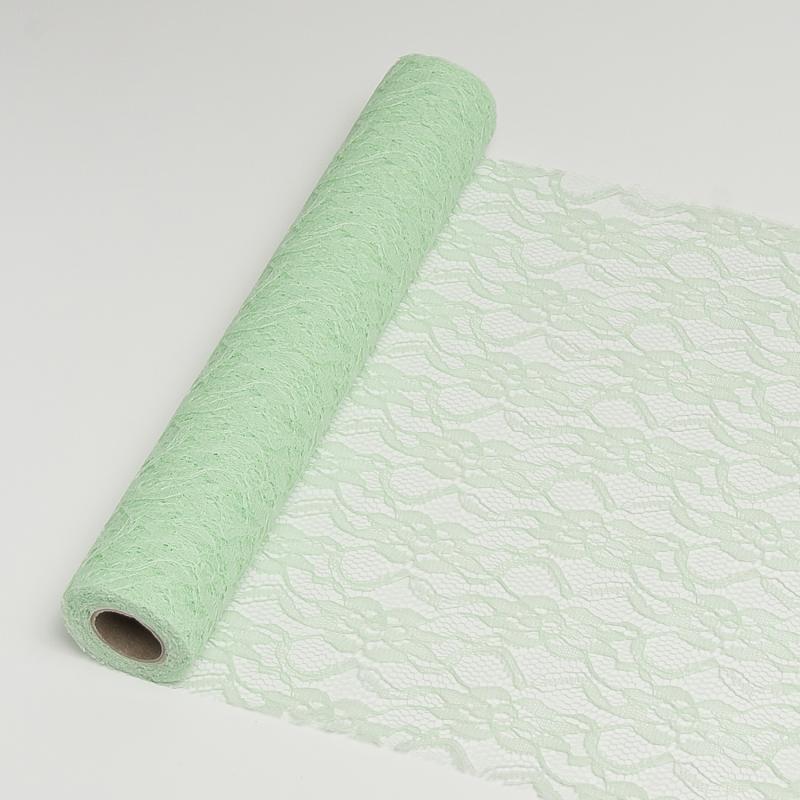 29 cm széles csipke futó (5 m) – zöld