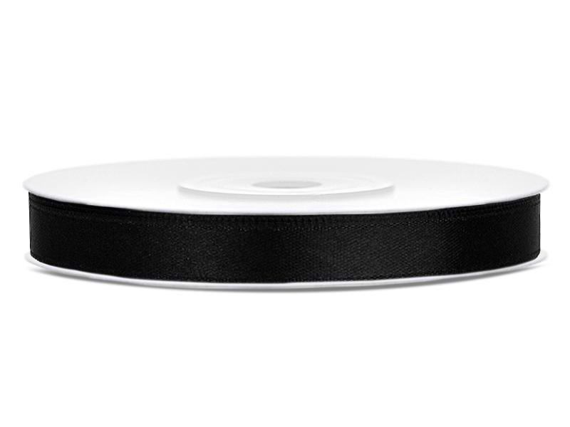 6 mm széles szatén szalag (25 m) – fekete