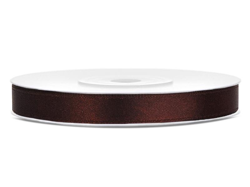 6 mm széles szatén szalag (25 m) – kávébarna