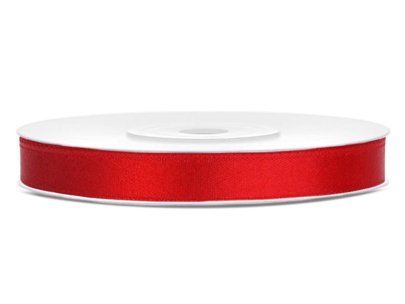 6 mm széles szatén szalag (25 m) – piros