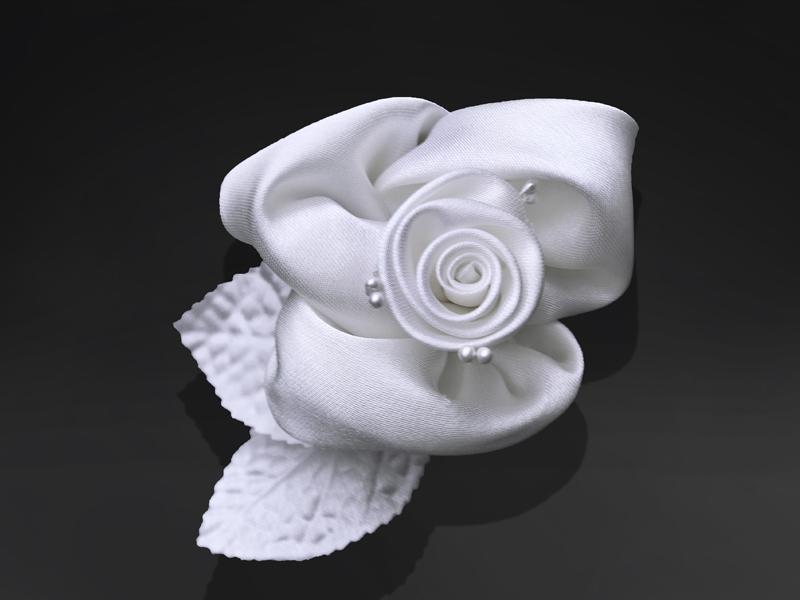 autó dekoráció – öntapadós szatén rózsa, fehér