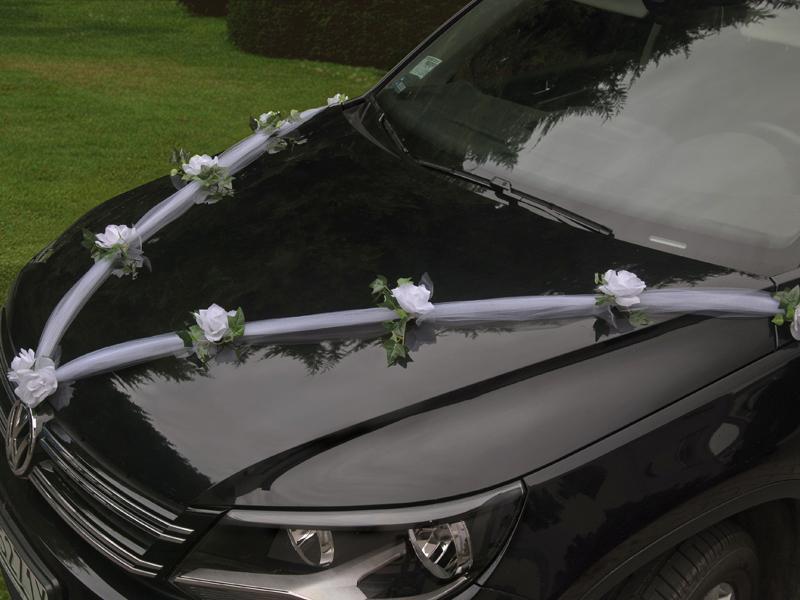 autó dekoráció 1x1,7 m – fehér tüll