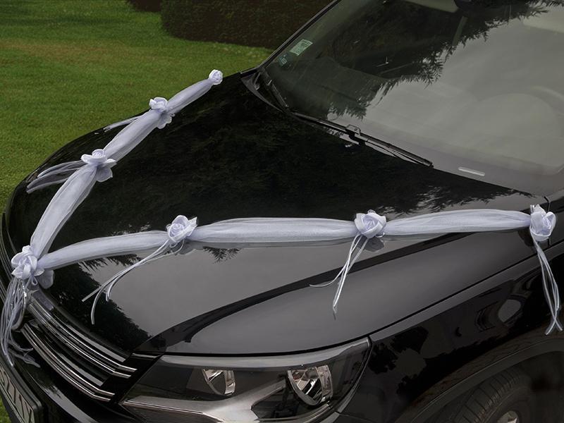 autó dekoráció 2x1,8 m – fehér organza