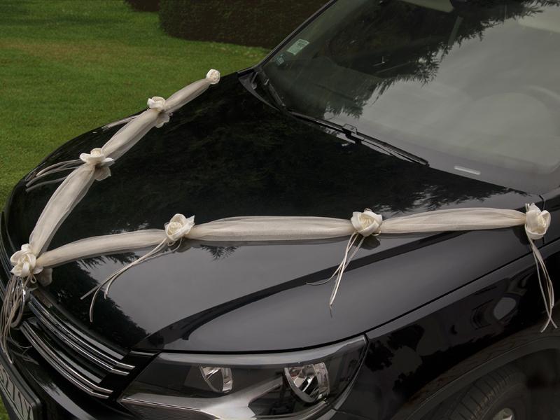 autó dekoráció 2x1,8 m – krém organza