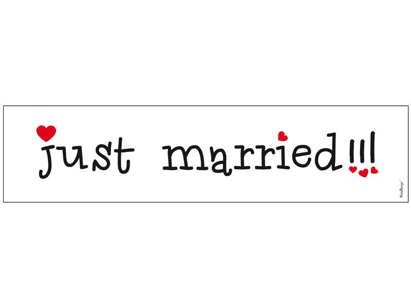 autó rendszám – Just Married, fehér