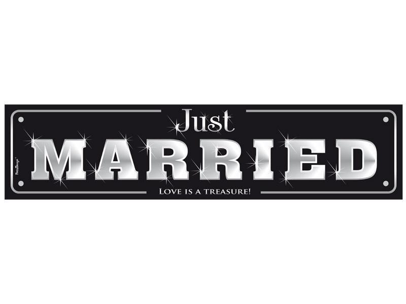 autó rendszám – Just Married, fekete