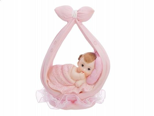 babaváró tortadísz – lánybaba batyuban