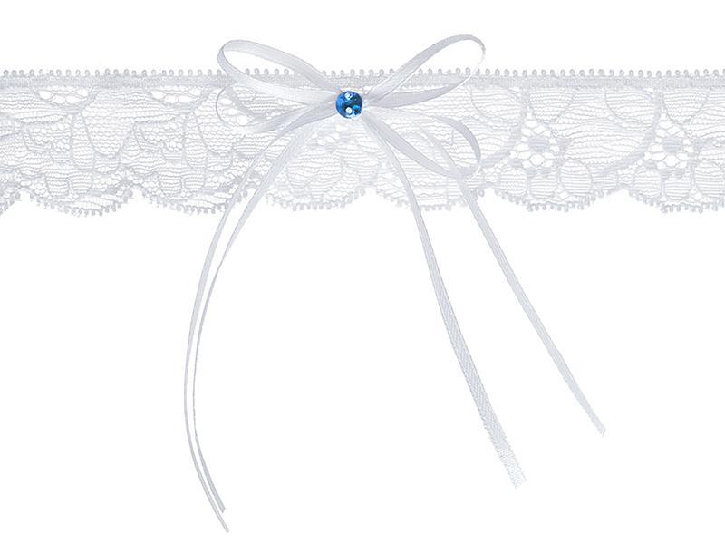 esküvői harisnyakötő – fehér csipke, kék kővel
