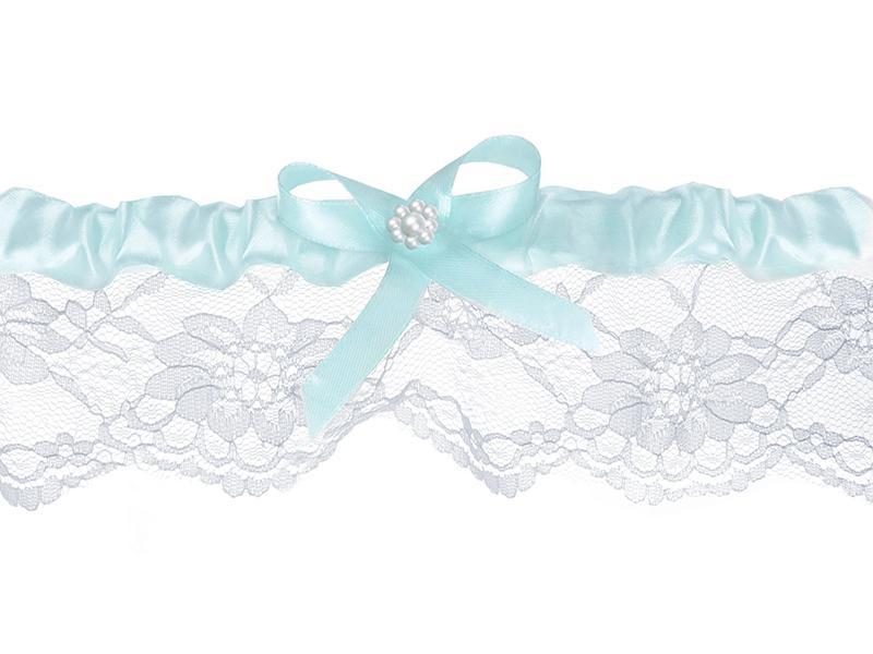 esküvői harisnyakötő – fehér csipke, kék masnival