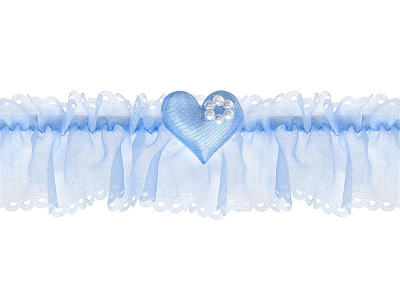 esküvői harisnyakötő – kék organza, kék szívvel