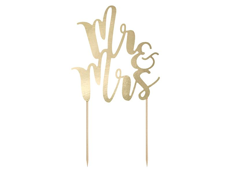 esküvői tortadísz (karton) – Mr és Mrs, arany