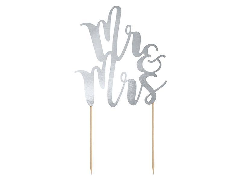 esküvői tortadísz (karton) – Mr és Mrs, ezüst