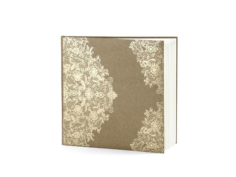 esküvői vendégkönyv – arany mintás, barna