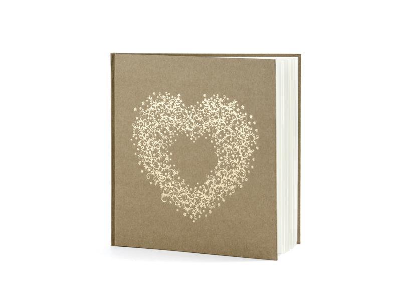 esküvői vendégkönyv – arany szív mintás, barna