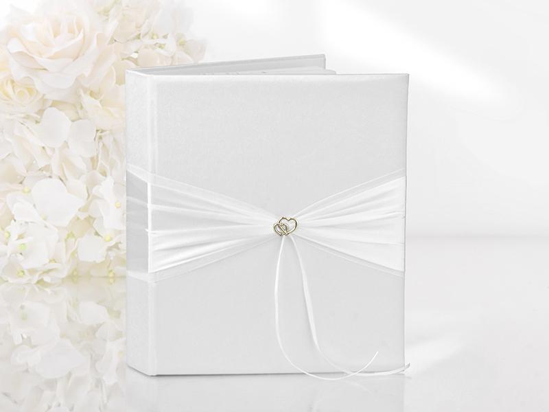 esküvői vendégkönyv – arany szíves, fehér