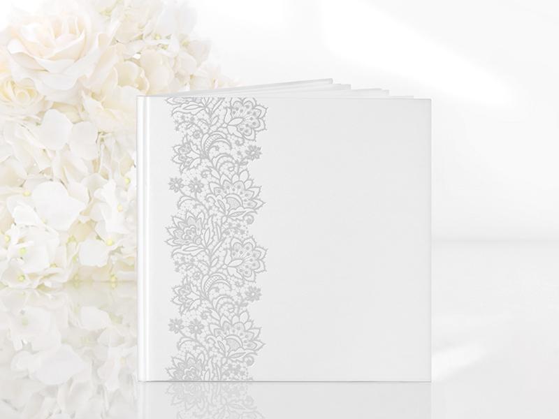 esküvői vendégkönyv – ezüst virágos, fehér