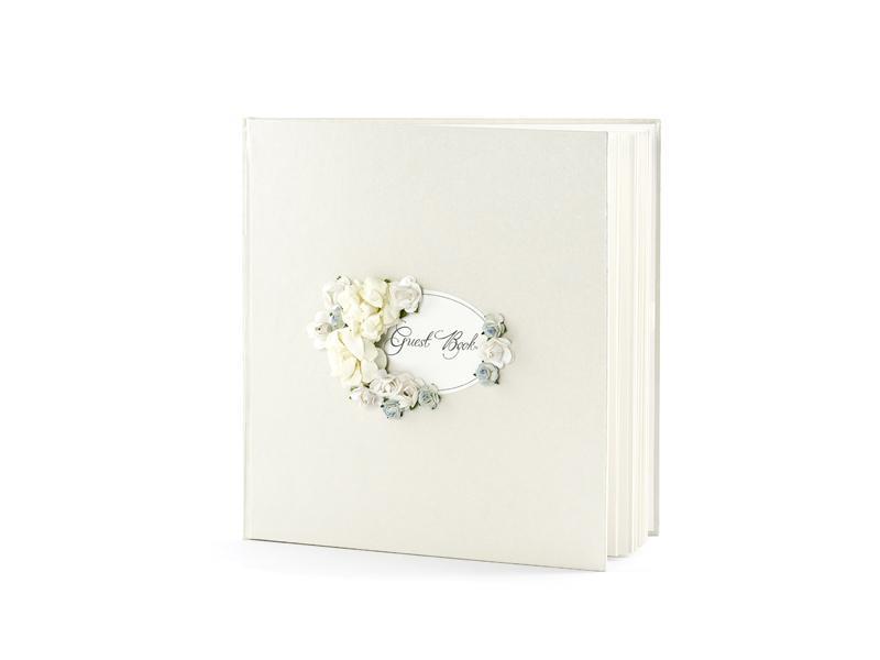 esküvői vendégkönyv – kék virágos, krém