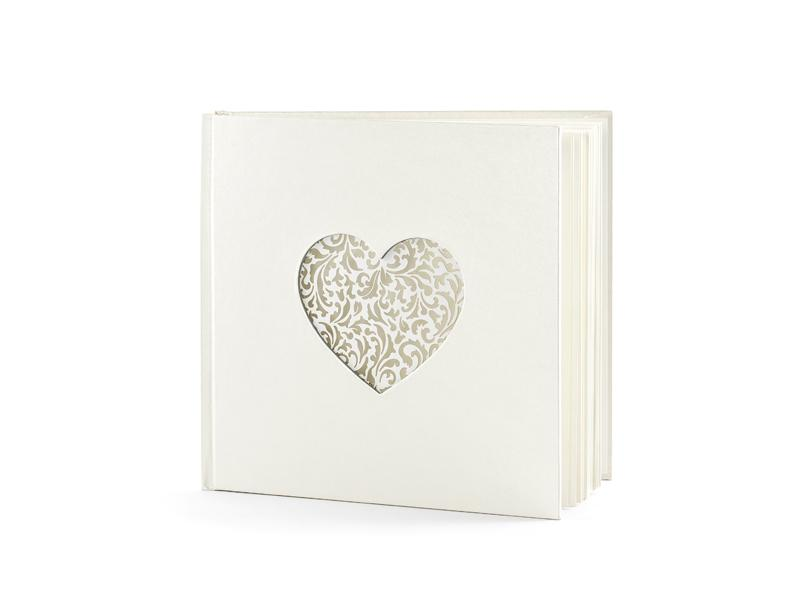 esküvői vendégkönyv – szíves, krém