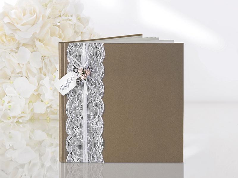esküvői vendégkönyv – vintage, barna