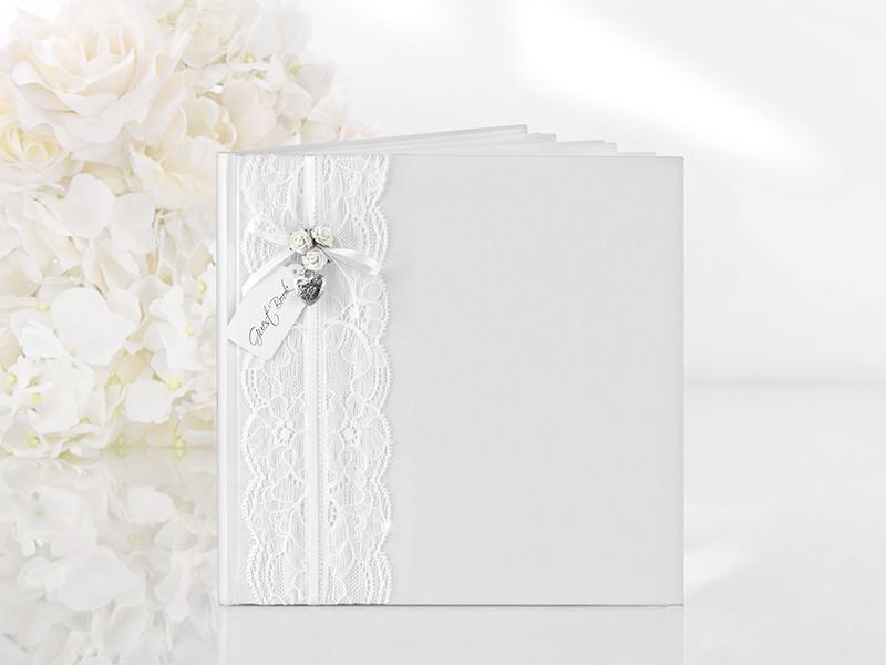 esküvői vendégkönyv – vintage, fehér