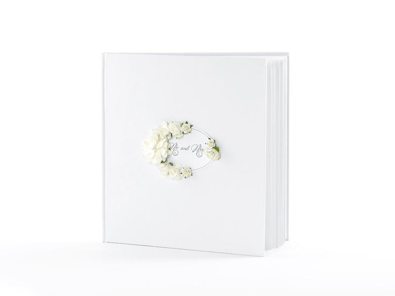 esküvői vendégkönyv – virágos, fehér