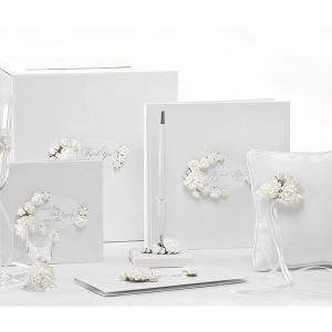 esküvői toll – virágos, fehér