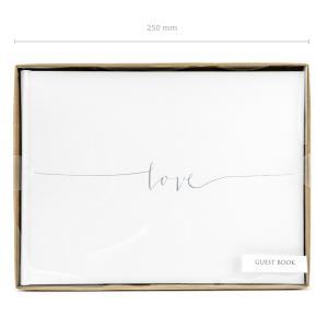 esküvői vendégkönyv – ezüst love felirattal, fehér