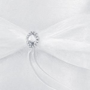 gyűrűpárna – ezüst díszes, fehér