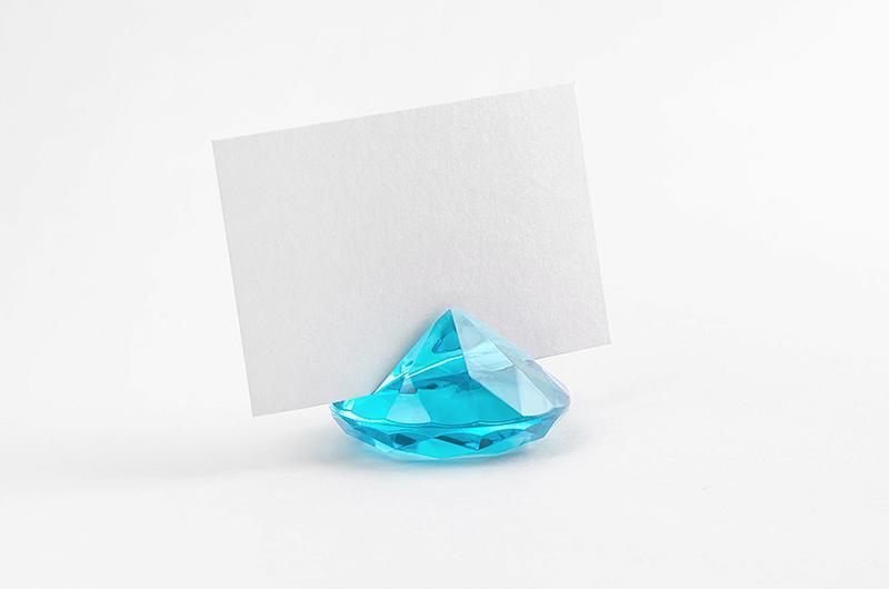 gyémánt alakú ültetőkártya tartó (10 db/cs) – türkiz