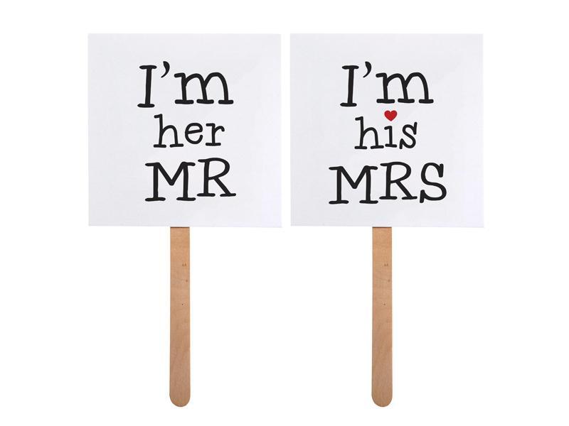 I'm her MR / I'm his MRS táblák