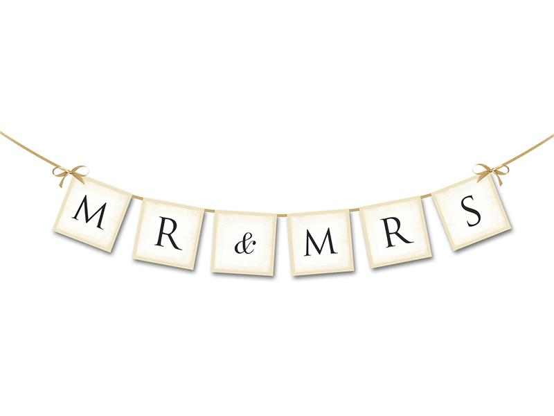 Mr és Mrs esküvői felirat