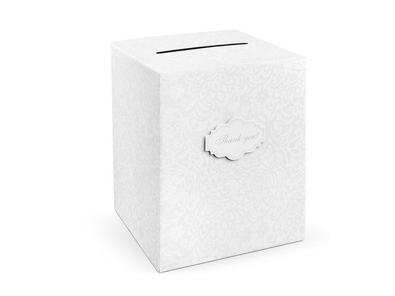 nászajándék gyűjtő doboz – csipke mintás, fehér