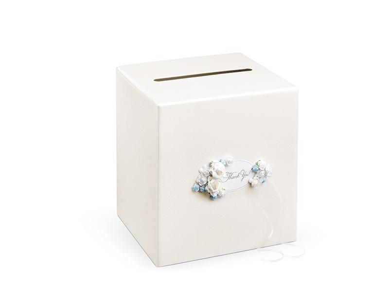 nászajándék gyűjtő doboz – kék virágos, krém