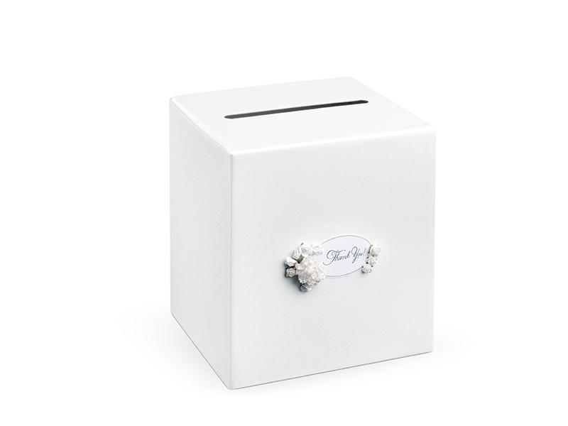 nászajándék gyűjtő doboz – virágos, fehér