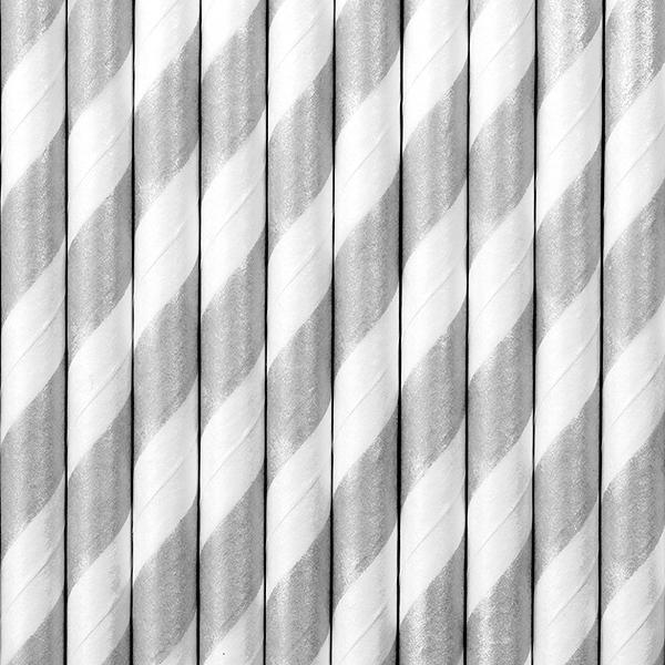 papír szívószál (10 db/cs) – ezüst