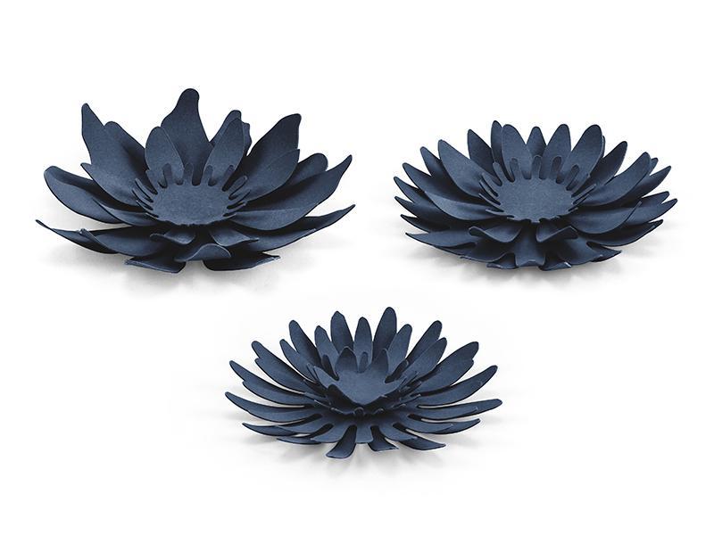 papír virág tavirózsa (3 db/cs) – tengerészkék