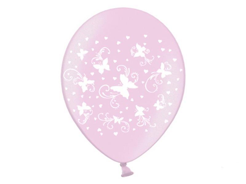 pillangós lufi 30 cm (6 db/cs) – rózsaszín