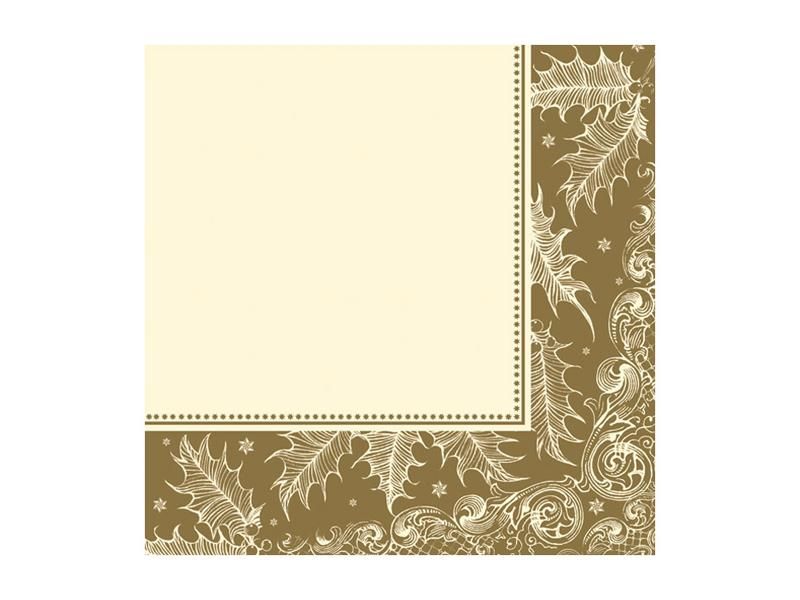 szalvéta 33x33 cm 3 rétegű (20 db/cs) – arany karácsonyi mintás