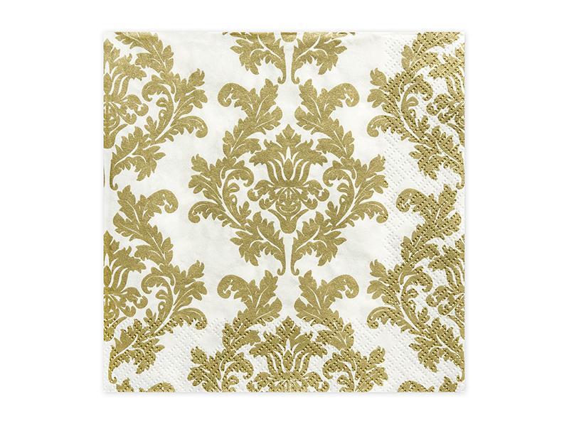 szalvéta 33x33 cm 3 rétegű (20 db/cs) – fehér és arany mintás