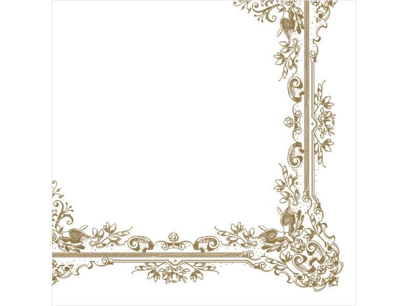 szalvéta 33x33 cm 3 rétegű (20 db/cs) – fehér és óarany mintás