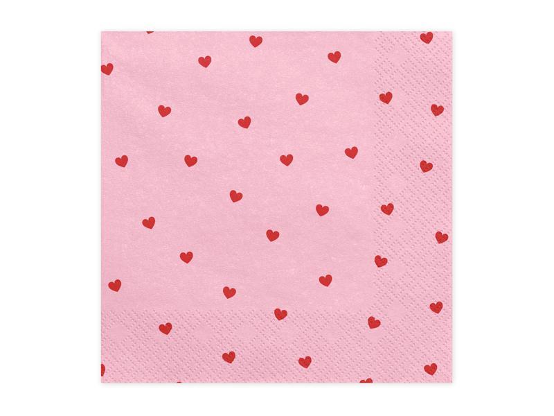 szalvéta 33x33 cm 3 rétegű (20 db/cs) – rózsaszín alapon piros szíves