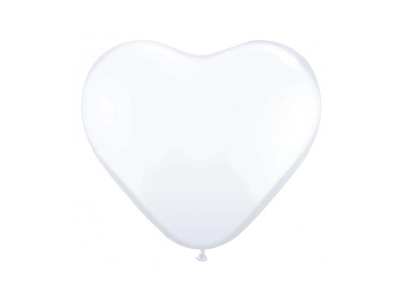 szív alakú lufi 25 cm – fehér
