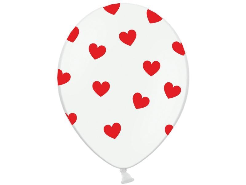 szív mintás lufi 30 cm (6 db/cs) – fehér