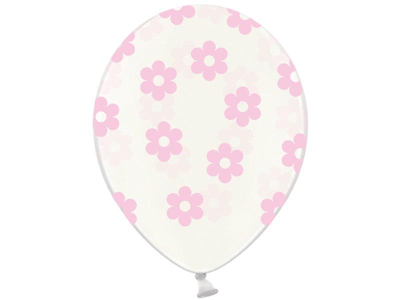 virág mintás lufi 30 cm – rózsaszín