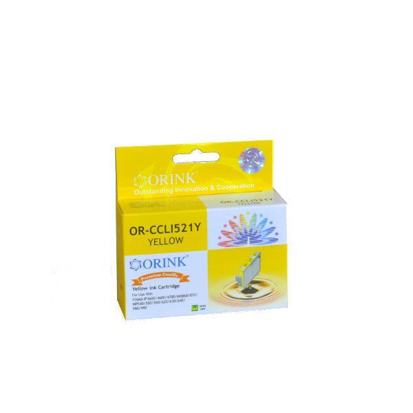 Utángyártott ORINK Canon CLI-521Y chippes sárga tintapatron