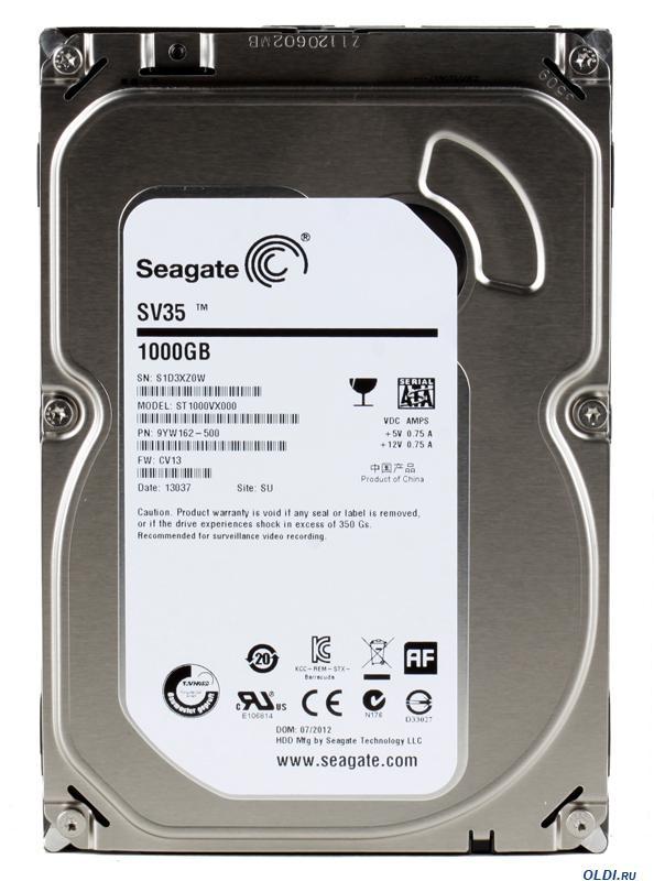 1.0 TB Seagate 64MB 7200 ST1000VX000 SV35 Series SATA3