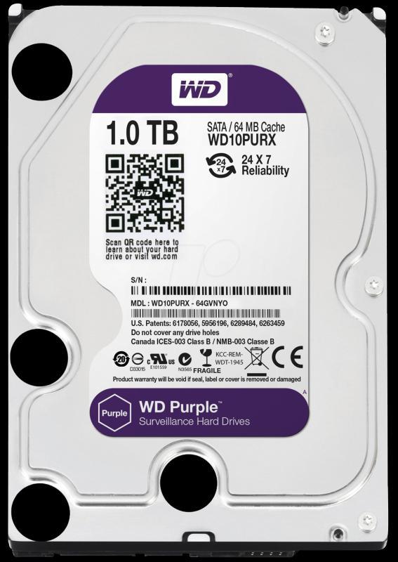 1.0 TB Western Digital Purple 7200 64MB WD10PURX 24/7-üzemre SATA3