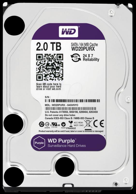 2.0 TB Western Digital Purple 7200 64MB WD20PURX SATA3